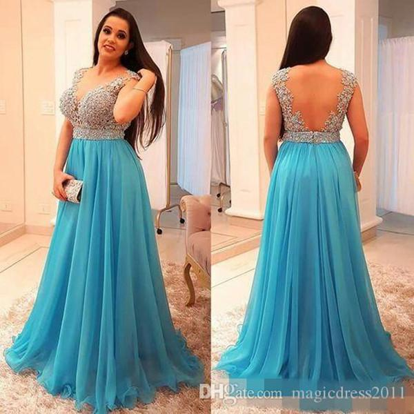 Stunning Beaded Chiffon Plus Size Prom Dresses Deep V Neck Backless Evening Gown Floor Length Pleated Long Formal Guest Dress