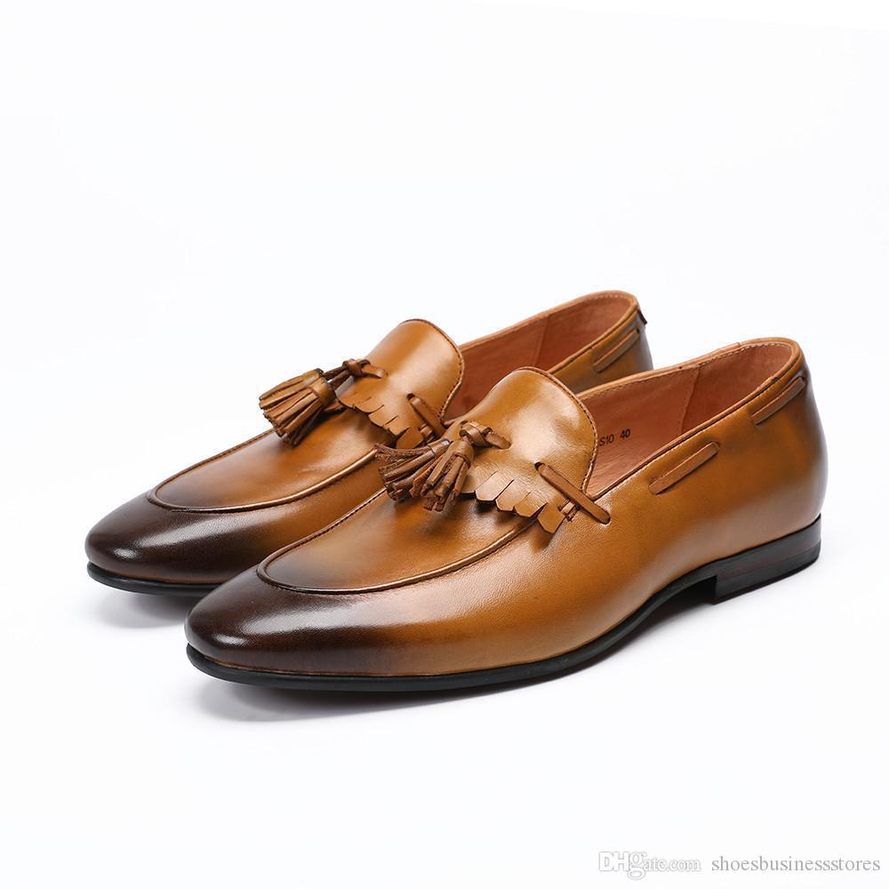 Новые натуральная кожа Мужчины BROGUE мужчина Пати пром обувь Баллок кисточкой Мужчины Мокасины Повседневная партия платье обувь скольжения на Большой размер