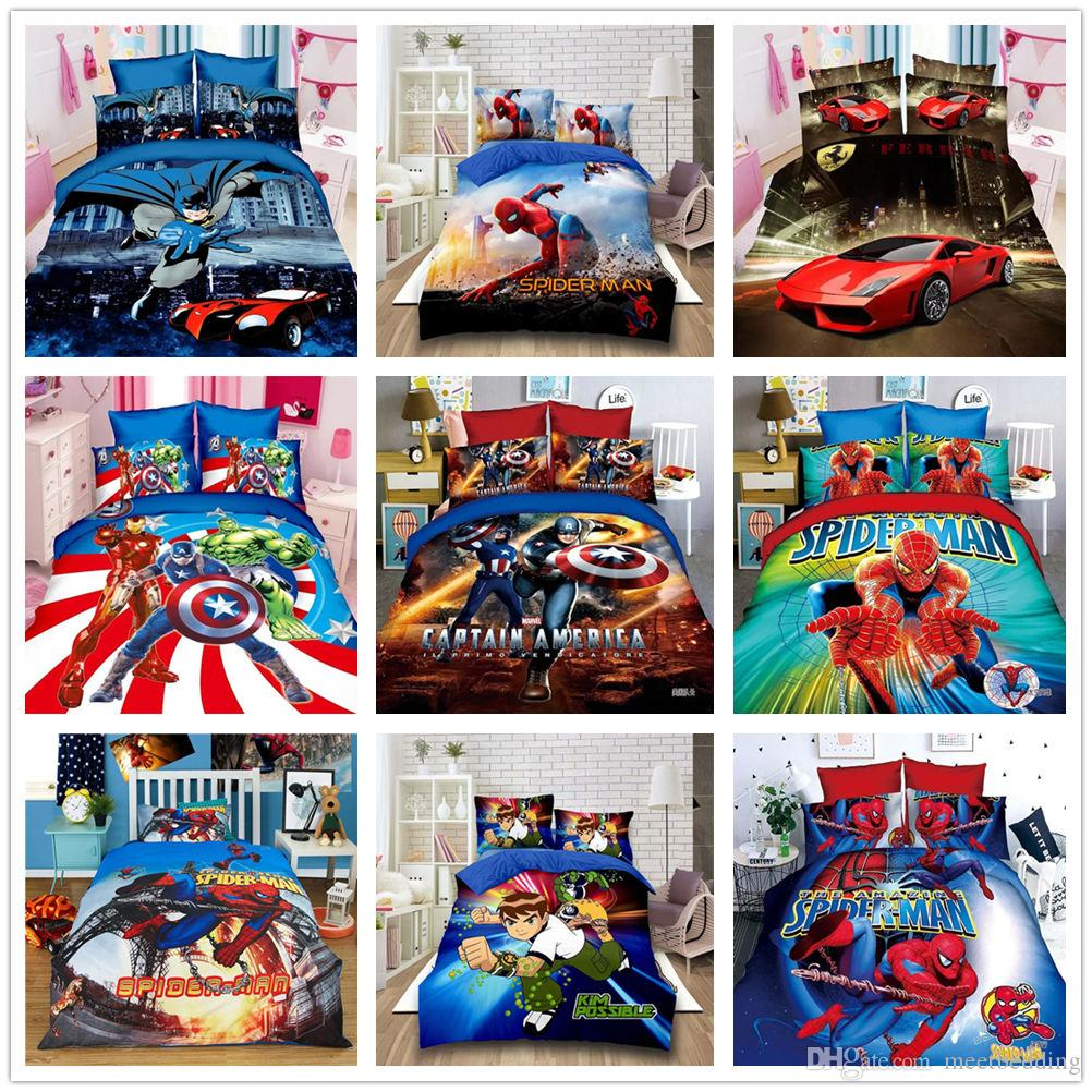 طقم سرير مطبوع برسمة كرتونية للأطفال مع غطاء وسادة 2/3 قطع مع بدلة مارفل هيرو سبايدرمان باتمان