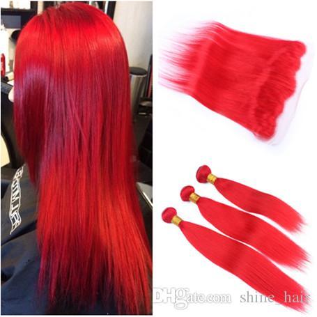 13x4 정면 폐쇄와 순수 붉은 페루 버진 인간의 머리 Wefts 3Bundles 짜기와 부드러운 스트레이트 붉은 색 전체 레이스 정면