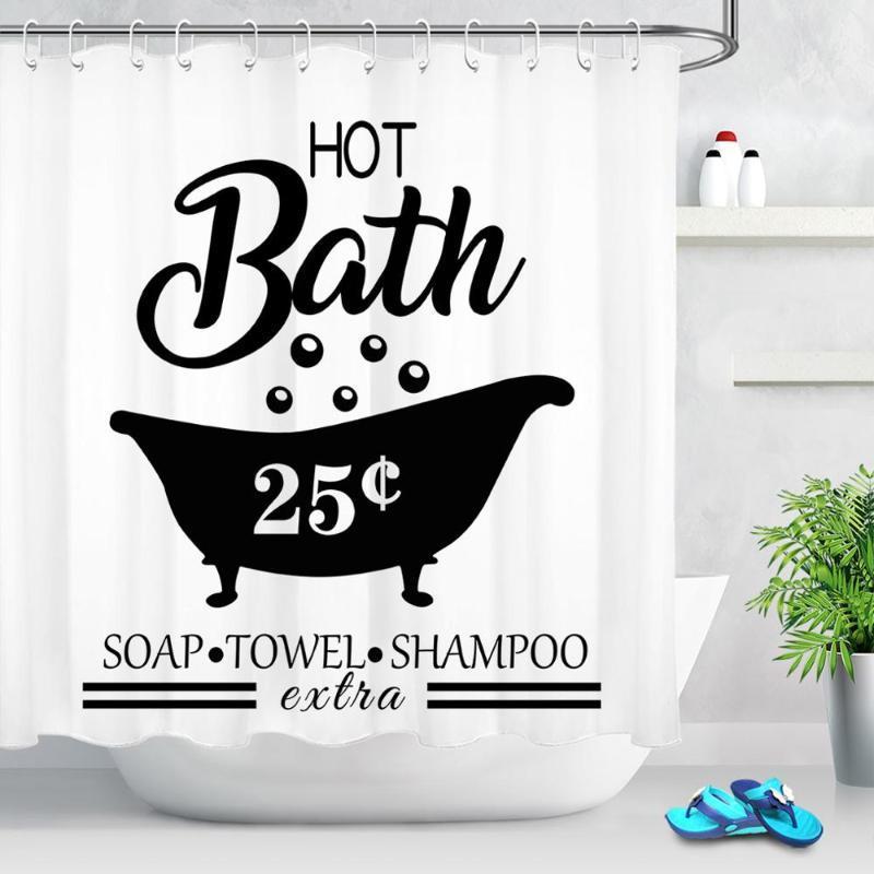 Siyah ve Beyaz Duş Perdeleri Su geçirmez polyester Komik Kelimeler Banyo Ekranlar Perde Kumaş Küvet Aksesuarları Ev Dekorasyonu