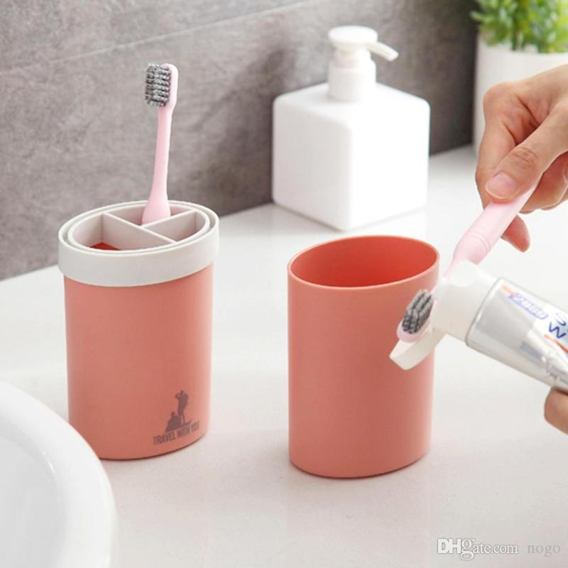 Portable Plastic Water Bottle Toothbrush Holder Toothpaste Storage Travel Cup