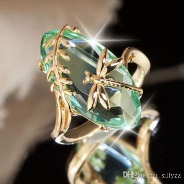New creative dragonfly olive green ring; Europe and the United States plated 18k gold finger ring