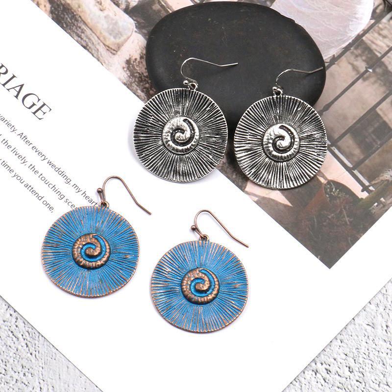 Boho alta qualidade azul grande brinco liga rodada de 2020 Novo Partido Jewelry Design exclusivo Big Geometric Dangle Brinco mulheres do vintage