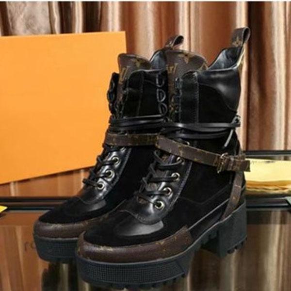 Louis Vuitton Shoes Hight Qualität Schwarz Patchwork Gladiator schnüren sich oben Frauen Stiefel Runde Zehe-Plattform Chunky Heel Damen Stiefeletten Schuhe Damen KJHY04