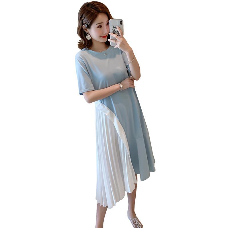 2019 Ropa de algodón de maternidad de verano de manga corta con cuello en O rodilla Hasta la rodilla Patchwork plisado Mujeres embarazadas vestido ocasional al por mayor