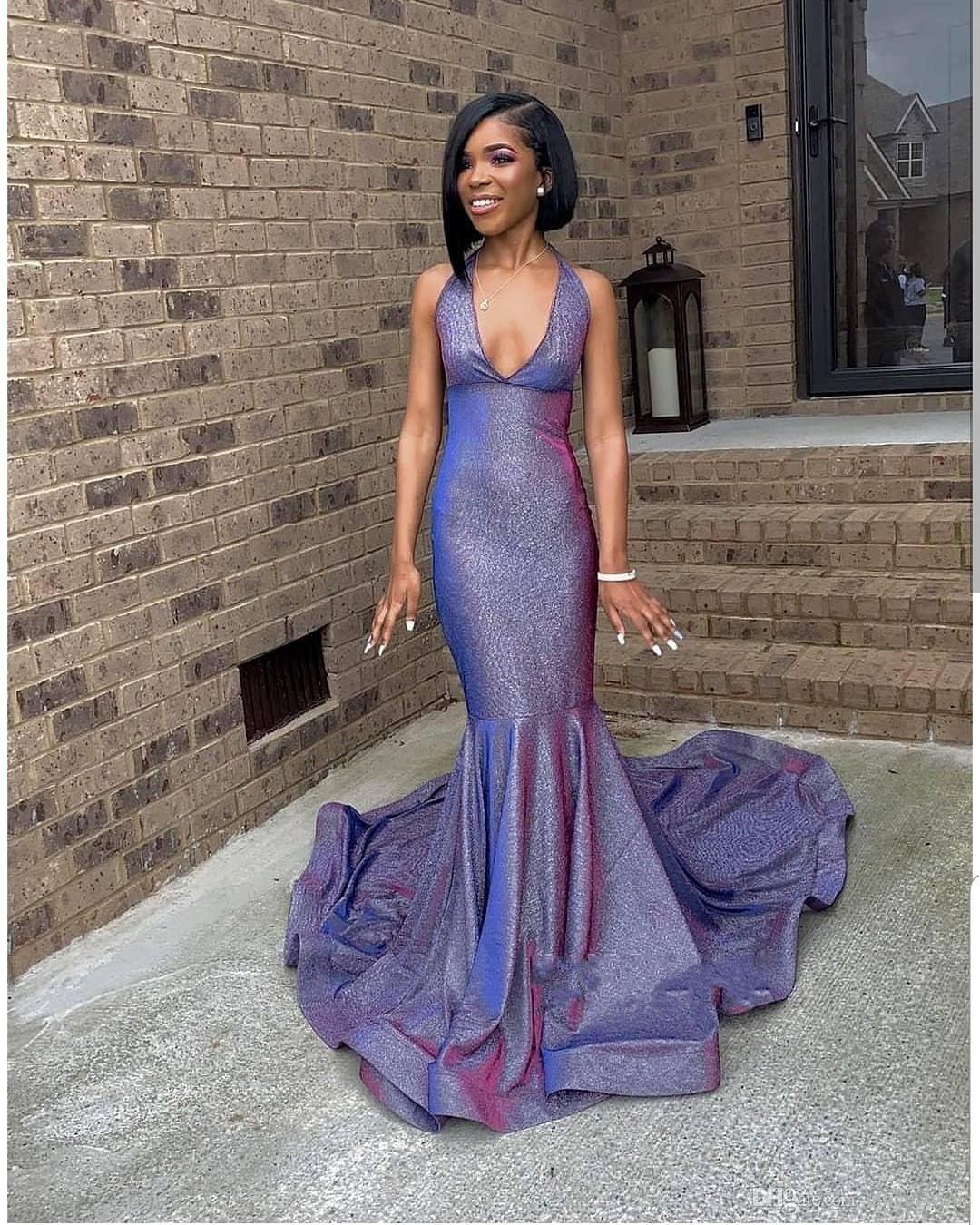 9 Blingbling African Prom Dresses Sleeveless Mermaid Plunging V
