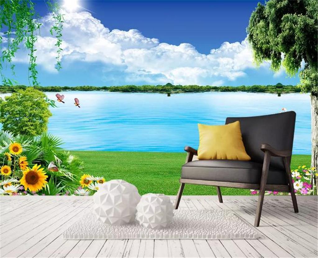 Compre Discount For Cheap Wallpaper Beautiful Lake View 3d Impresión Digital Papel De Pared Papel De Pared Personalizado Para Paredes Decoración Del