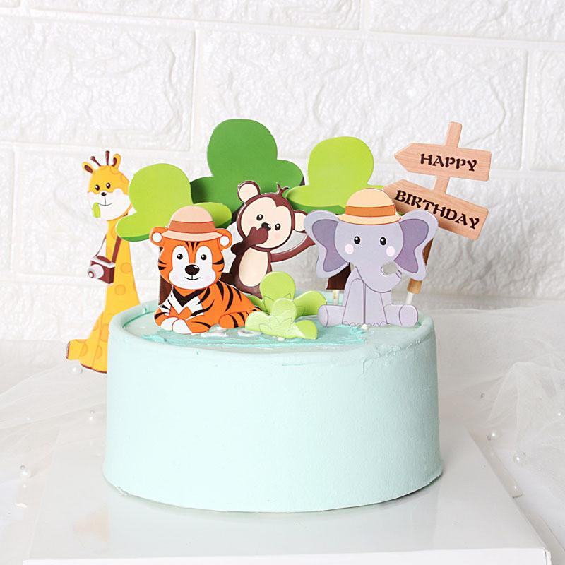 Cakelove 11pcs Zoo Cute Forest Animal Cake Toppers for Kid`s Birthday Decoration Monkey Giraffe Tiger Lion Cupcake Toppers Birth Y200618
