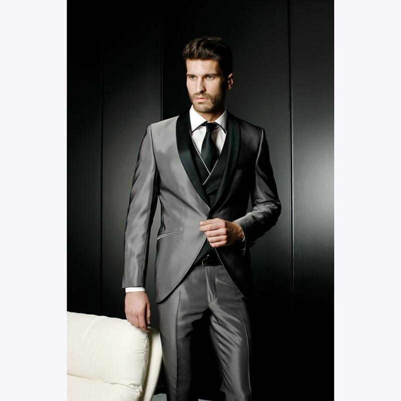 Pop 2019 Latest Coat Smoking Grey Satin Wedding Suits For Men Jacket Slim Fit Custom 3 Pieces Blazer Prom Mens Suit Tuxedo Masculino