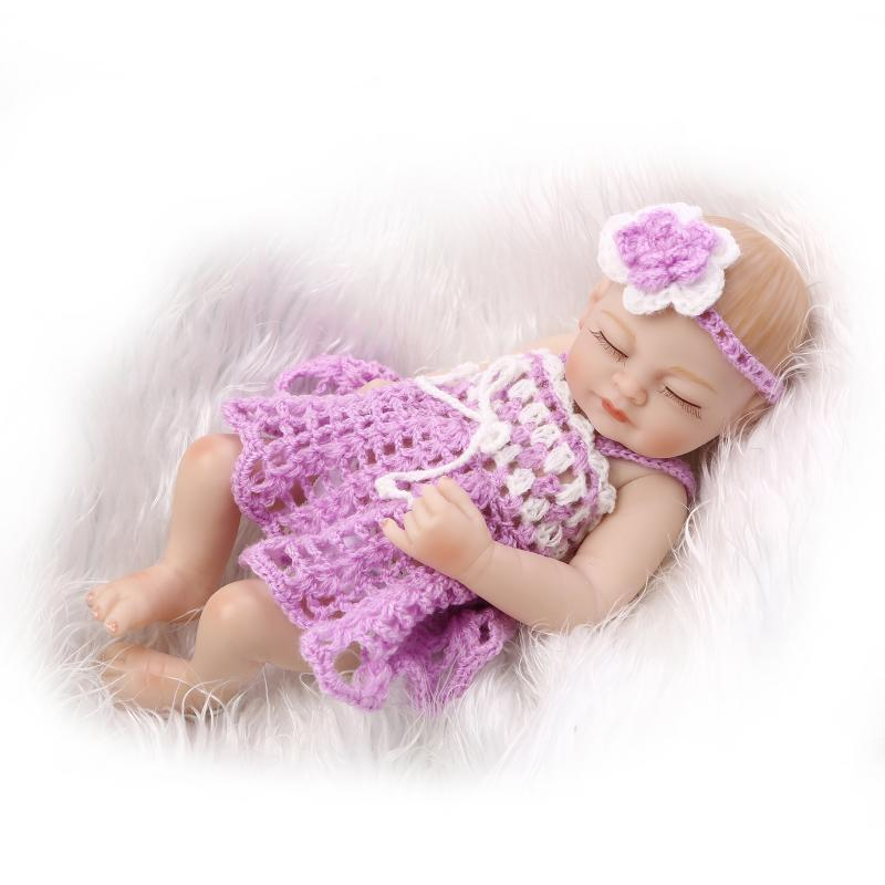 Puppe super netter Mini Realistische Schlaf Artificial weiche Baby-Baby-kreative Geschenk-Bad-Spielzeug-Puppe