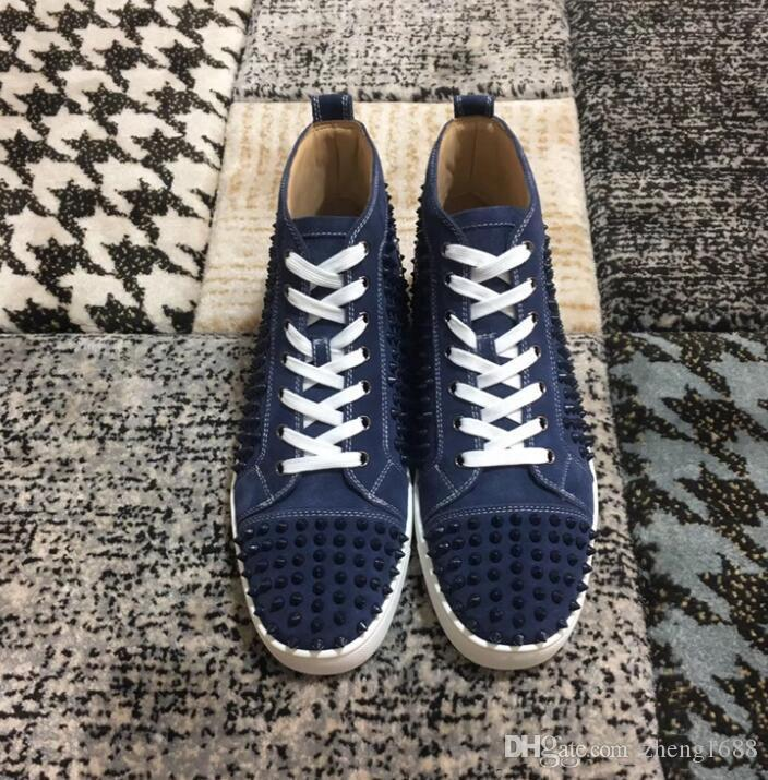 Fashion Designer Brand Studded Spikes Flats shoes Red Bottom casual Shoes Men and Women Party Lovers Genuine Leather Sneakers