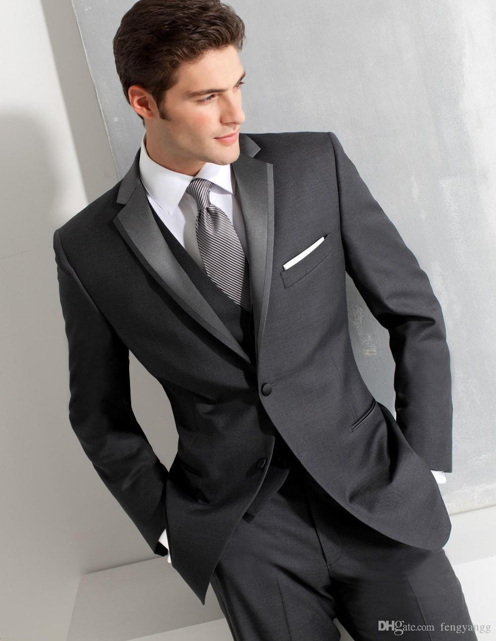 Grey 3 Pieces Slim Fit Wedding Suits Notched Lapel 2 Buttons Fomal Business Suit Groom Tuxedos for Evening (Jacket+Vest+Pants) Custom Made
