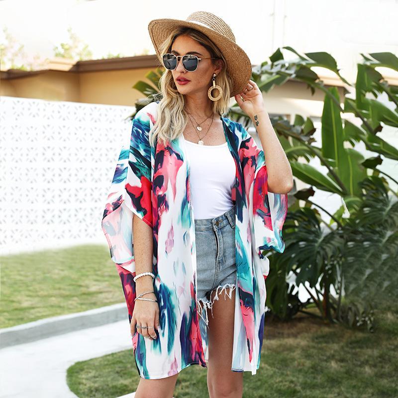 Loose Women Kimono Cardigan Abrir Frente mangas meia contraste cores Impresso Oversized Bohemian férias Bikini encobrimentos Beachwear