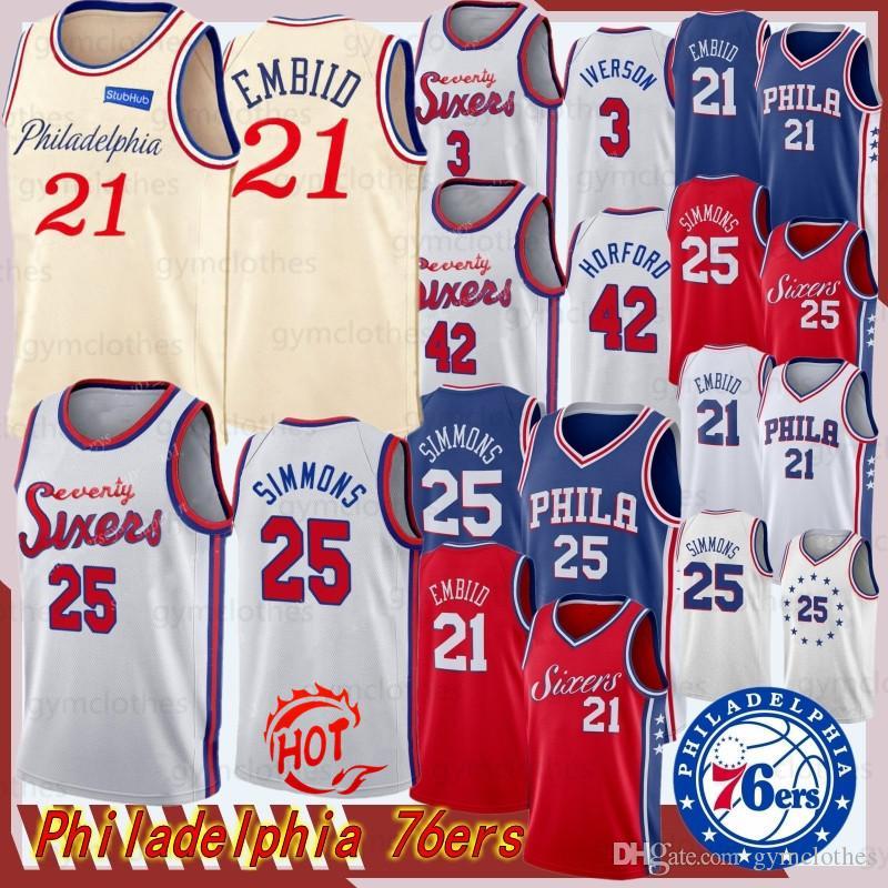 joel 21 embiid Jersey Ben 25 Simmons Al Horford 42 NCAA Mens New Jersey Basketball Jerseys Retro Allen Iverson 3 Jersey
