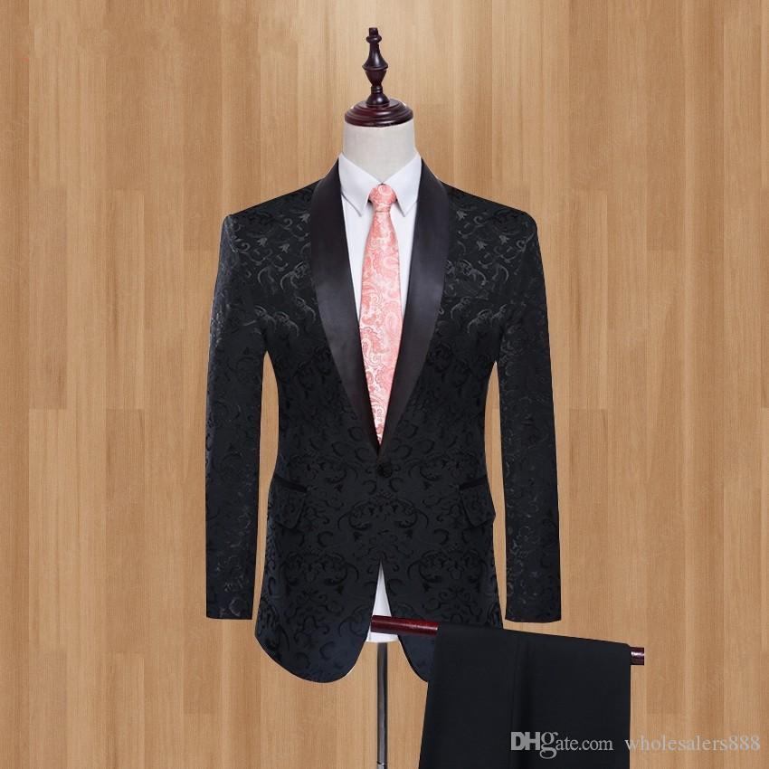 Мужские костюмы черный / красный / белый шаблон пальто с черными брюками Groom Tuxedos Шали / Peak сатин отворота Groomsmen Свадьбы шафер 2 шт L537