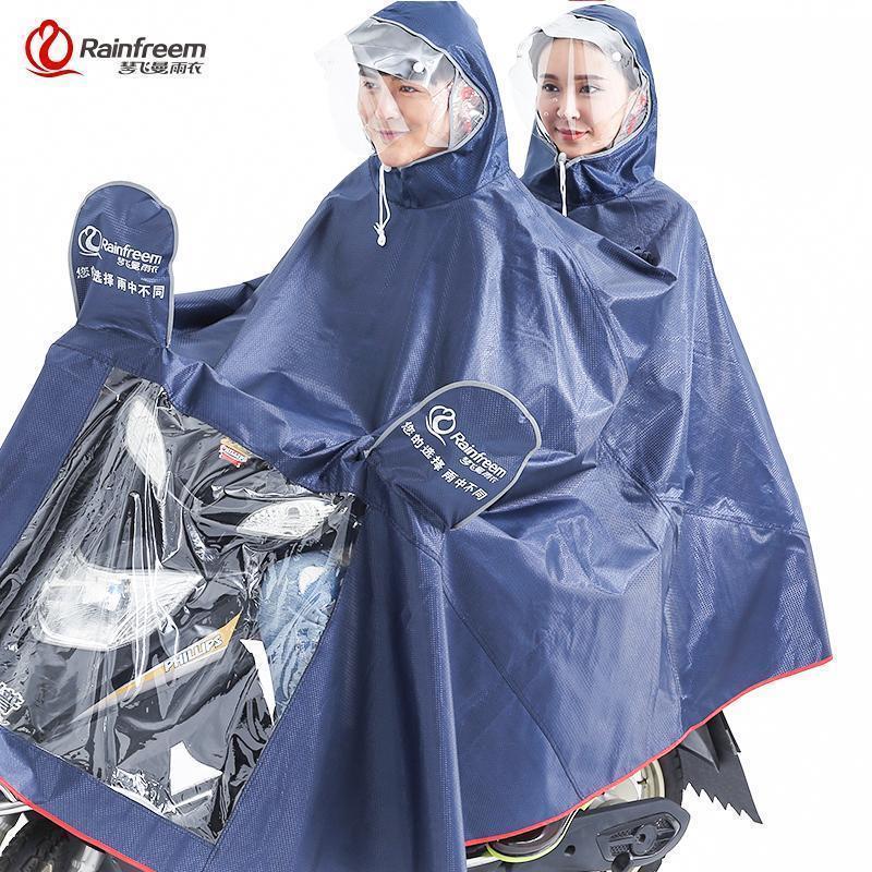Rainfreem Impermeable Rain Cockat Women Men two-person Rain Poncho Plaid Oxford Knitting Jacquard Water Against Electrombile Rain Gear