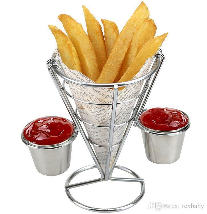 Держатель для картофеля фри с подставкой для двойного соуса Держатель для картофеля фри с конусом