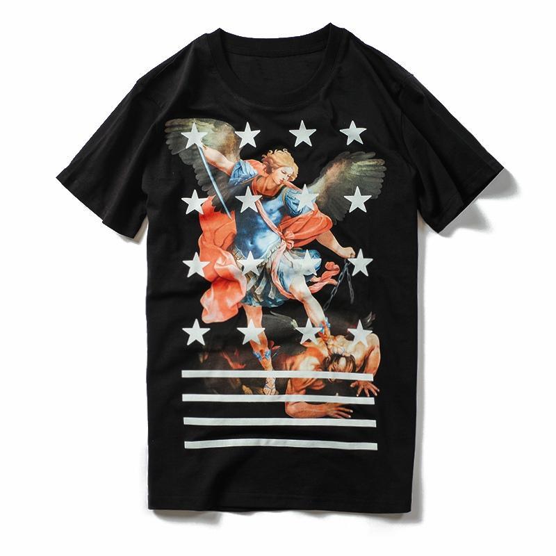 Erkek T Shirt Yaz Tişörtlü Melek Baskı Kısa Kollu Hip Hop Moda Erkekler Kadınlar Kısa Kollu Tişörtler Boyut S-XL