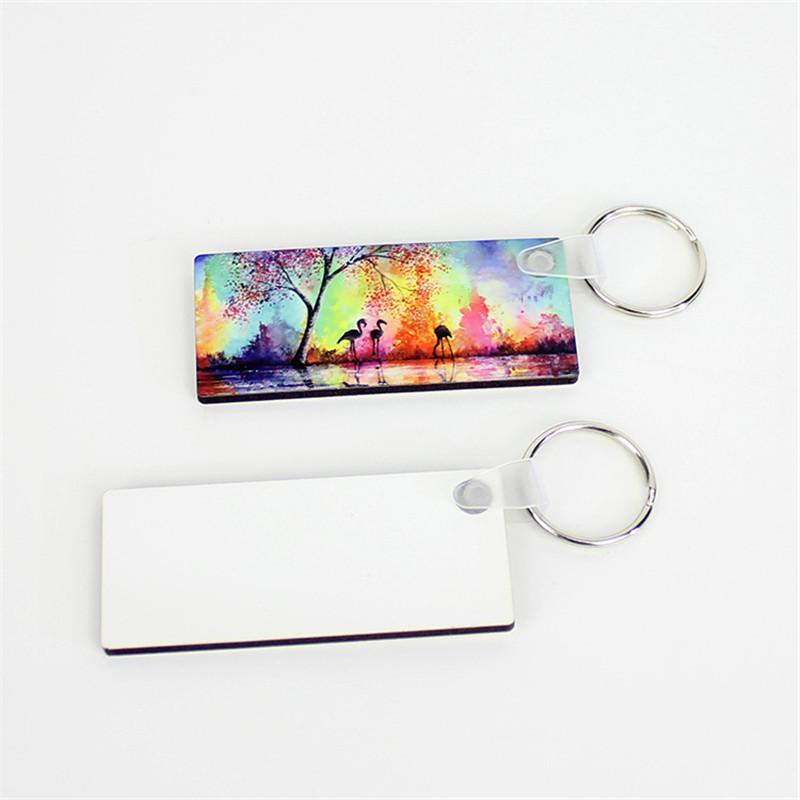 고객에 대한 승화 DIY 키 체인 광장 빈 키 체인 열전달 나무 키 펜던트 결혼 선물