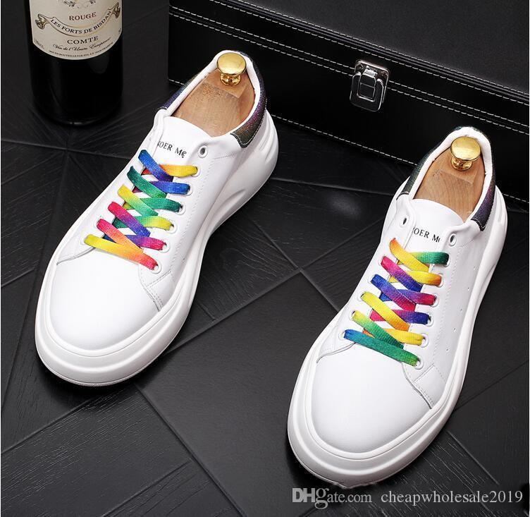 2019 marca vera pelle scarpe casual di alta qualità. Scarpe traspiranti Mens per gli uomini Slip-on di moda le scarpe di marca dell'uomo di sneakers con