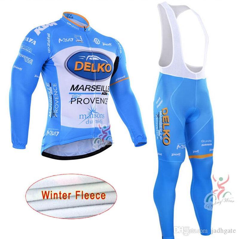 Delko team cyclisme hiver laine polaire thermique jersey pantalon ensembles vêtements de polyester vêtements de plein air vêtements de vélo hommes U81606