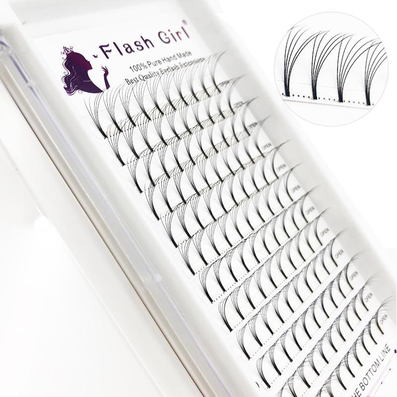 Flaş kız Doğal Siyah Uzun Salon İçin Rus Hacimli Ve Premade Hayranları kirpiklerinin 5D 0.07C 8-15mm MIX Kirpik Uzantıları Kök