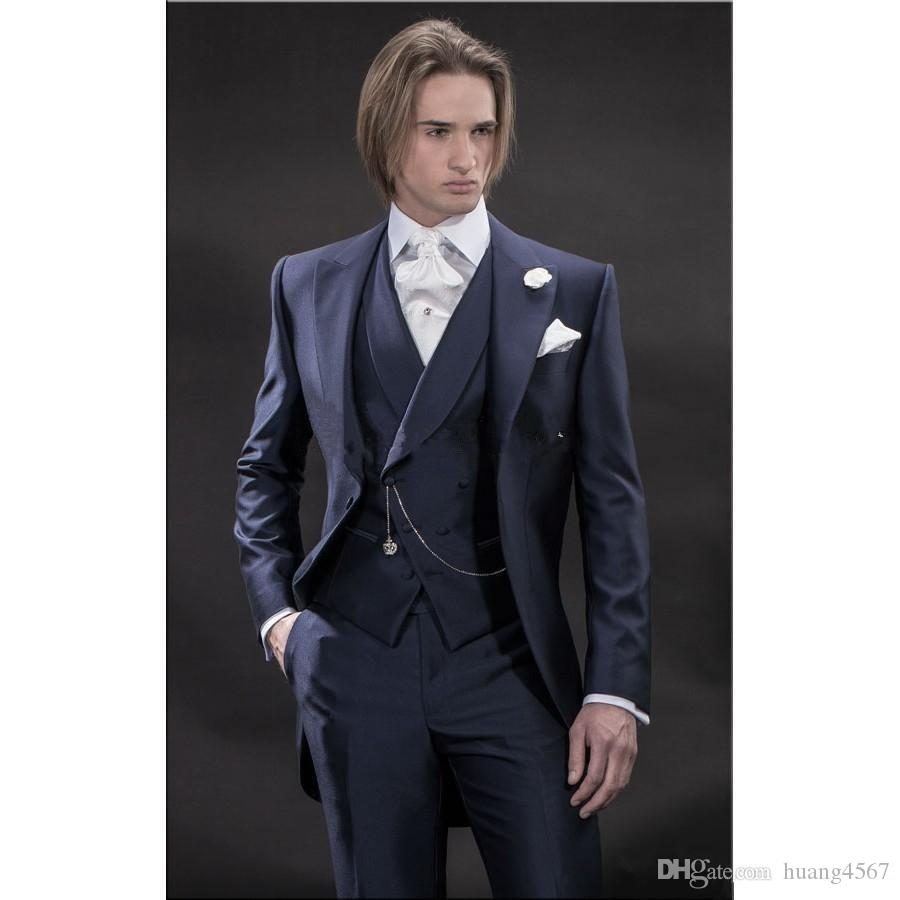 New Morning Style One Button Blu navy Smoking da sposo Sposo bavero Groomsmen Uomo Abiti Prom Blazer (Giacca + Pantaloni + Vest + Tie) 072
