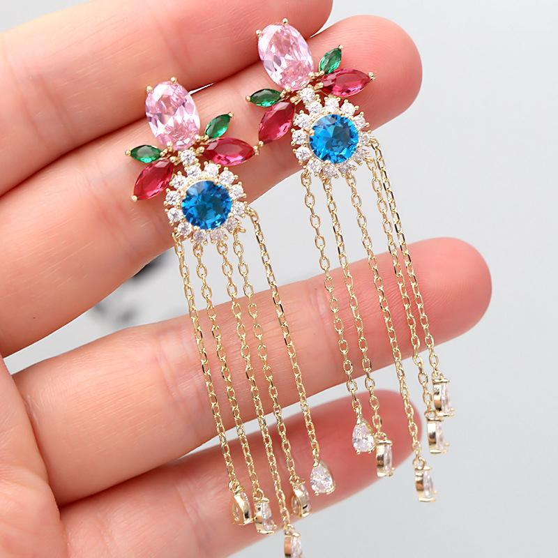 2019 New Fashion Long Tassel Earrings For Wedding Party Beautiful Crystal Flower Ear Studs Women Design Brand Jewellery