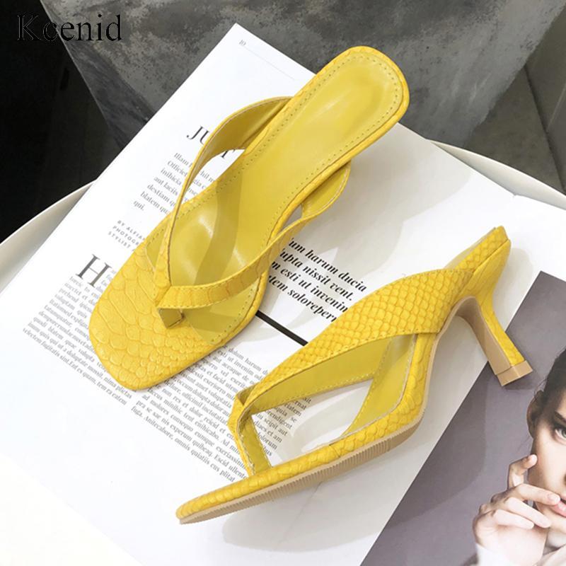 Kcenid 2020 Les pantoufles Les femmes d'été slip en plein air sur flip flops sandales jaune pantoufles dames femmes minces talons hauts chaussures