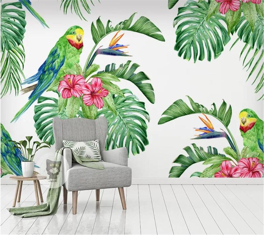 beibehang Пользовательских обои 3d настенный тропическая акварель цветы и птицы фона стена гостиная спальня обои 3d настенные