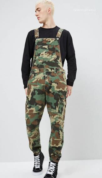 Jeans Overalls Mode schlanke Männer lange Hosen Herren Frühling Hosen Camouflage Denim Mens Overalls Designer Printed