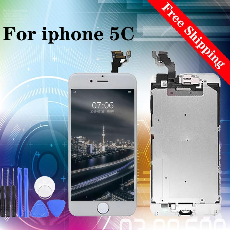Super quality Digitizer LCD Replacement Screen Assembly for iPhone 5C 100% Tested white black free shipping