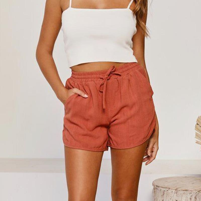 Sommer-Frauen reine Farbe des Baumwollleinen lose hohe Taillen-Kurz Damen Kordelzug Taschen Outdoor Freizeit Shorts Plus Size # p3