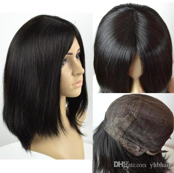 Кошерные парики 10А класса Light Black Color # 1b Finest Европейский Virgin Remy Human Hair Straight 4x4 шелкового Базового иудейской парик Fast Free Shipping