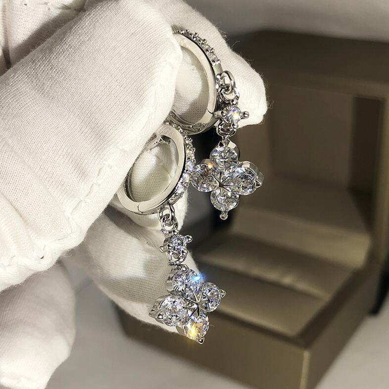 2020 جديد حار بيع مجوهرات فاخرة 925 فضة البرسيم القرط قطرة الأبيض واضح 5A مكعب الزركون تشيكوسلوفاكيا الماس المرأة تعلق القرط الزفاف
