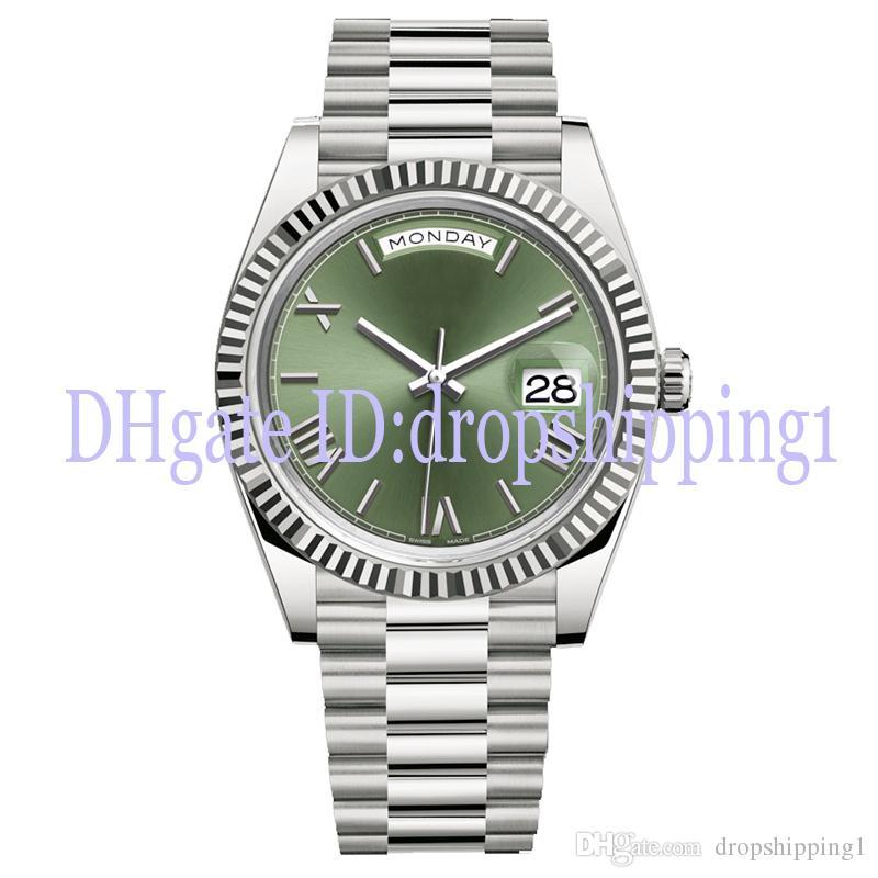 2019 남성 시계 40MM의 DAY 날짜 그린 로마 숫자 얼굴 큰 날짜 자동 기계 시계 남성 사파이어 유리 스테인레스 스틸 손목 시계