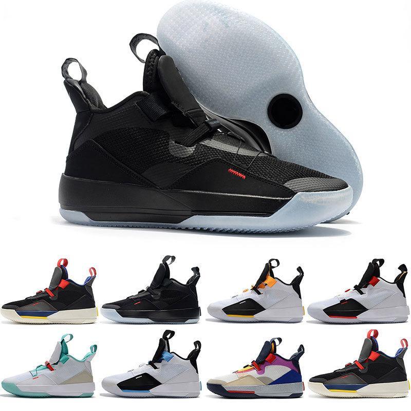 Barato para hombre de los zapatos de baloncesto XXXIII PF 33 Future of Flight alta calidad 33 Paquete Tech 33s Negro oscuro del humo gris zapatillas de deporte de vela