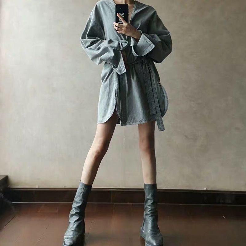 MIJKO Kleidungsmantel wo neue Winter Strickjacke Gewand der Männer des Herbstes Frauen und Denim High Street Allgleiches Mantel Modemarke Paares WiQnL
