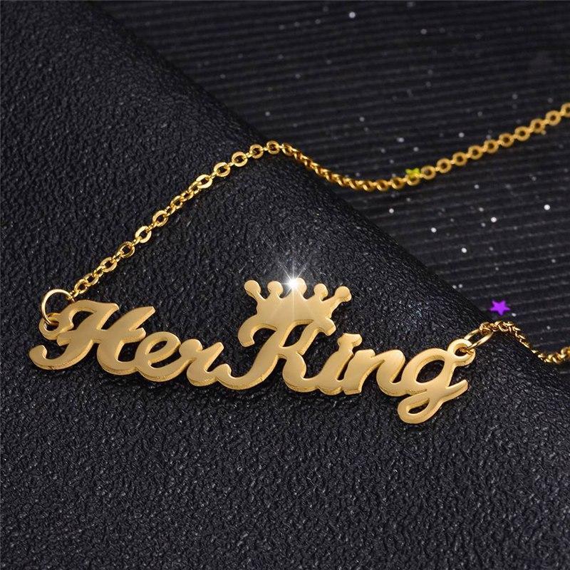 2019 El oro color de la plata a su rey a su reina inicial cadena de plata de oro collar de la letra Mujeres Hombres Collares