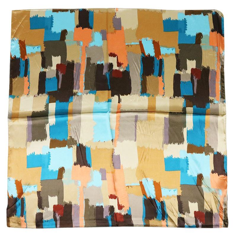 2019 verano y otoño geometría cuadrada pequeña bufanda de seda del enrejado del color del golpe de seda real del pañuelo Ocupación accesorios de la bufanda de la manera caliente GiftNew