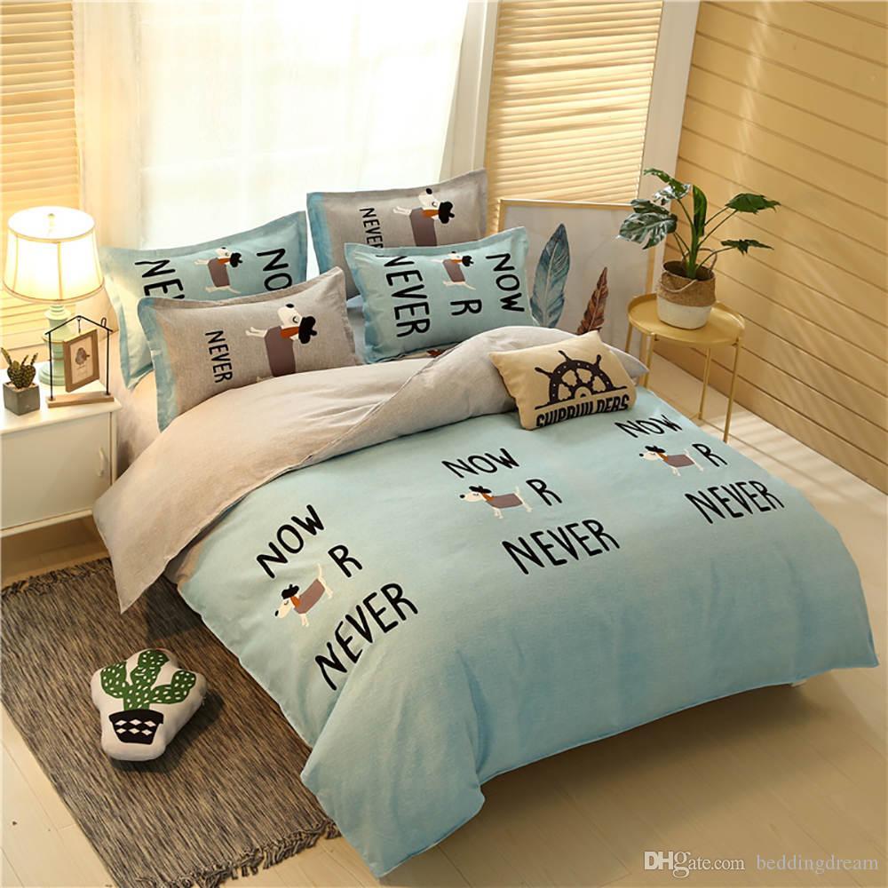 Dog Literie King Size Simple mode classique Housse de couette Reine double pleine simple confortable Couvre-lit avec Taie