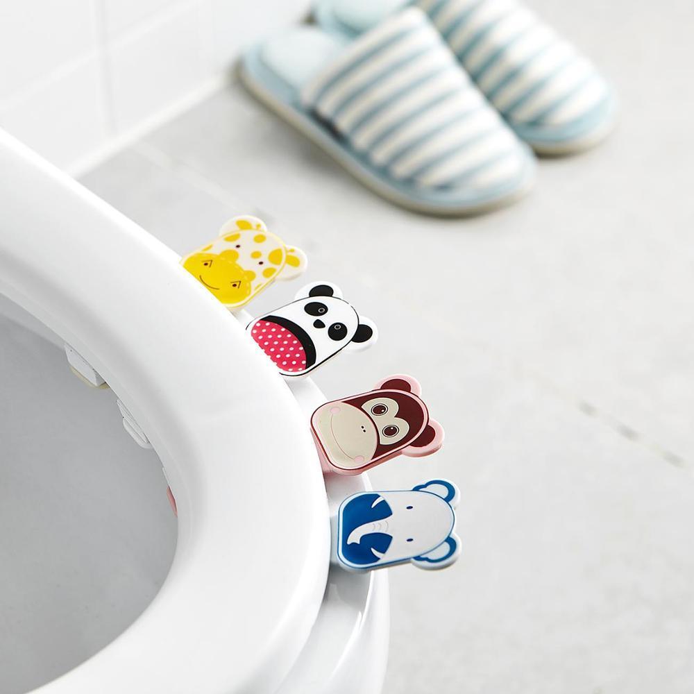 2Pcs / Set Cartoon Cover Lifter salle de bains couvercle couverture cuvette de toilette Siège de bain Toilette poignée Ascenseur Accessoires de porte-Siège