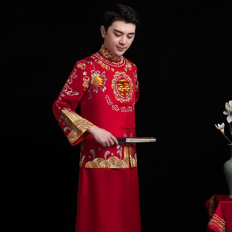 New the opera groom vintage long robe ancient prince costume men cheongsam Film TV stage wear Chinese wedding noble dress men