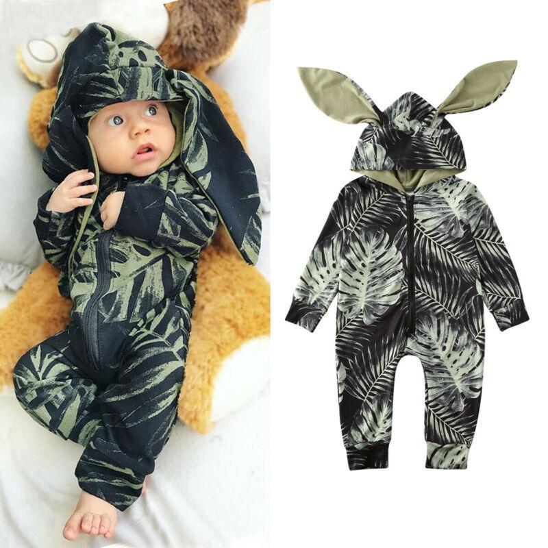 Мода новорожденный мальчик девочка Цветочная одежда толстовка Кролик комбинезон молния с длинным рукавом комбинезон наряд Осень Зима 0-24 м