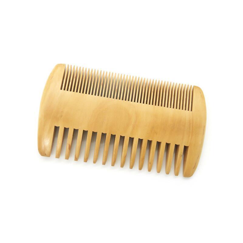 MOQ 50 PCS de boa qualidade verde sândalo de sândalo duplo lado pente de barba cabeça / pente de cabelo facial para homem pente de madeira logotipo personalizado LX9317