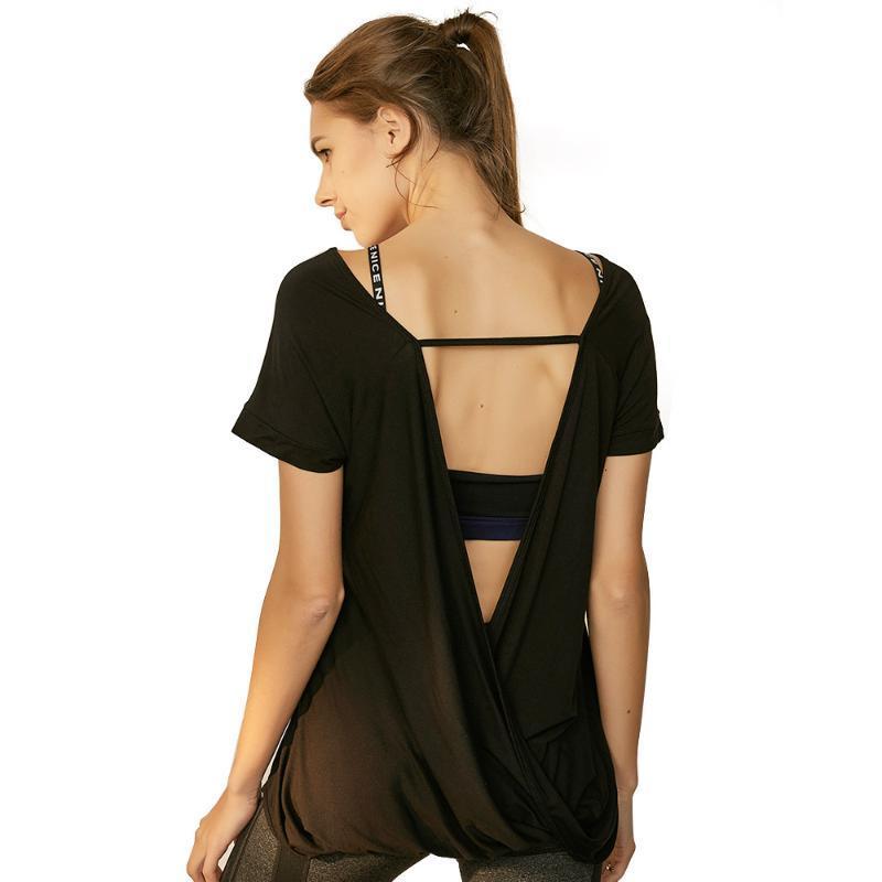 Fitness T-Shirt Backless Modal Fest Quick Dry Jogging Femme Workout Shirts Sport Yoga Top weibliche kurze Hülsen-beiläufige Hemden