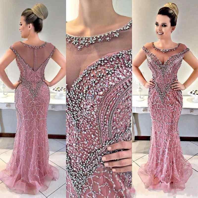 2020 Lüks Afrika Mermaid Abiye Mürettebat Boyun Boncuk Kristal Illusion Şeffaf Arka ile Fermuar Tren Plus Size Prom Parti Gowns Sweep