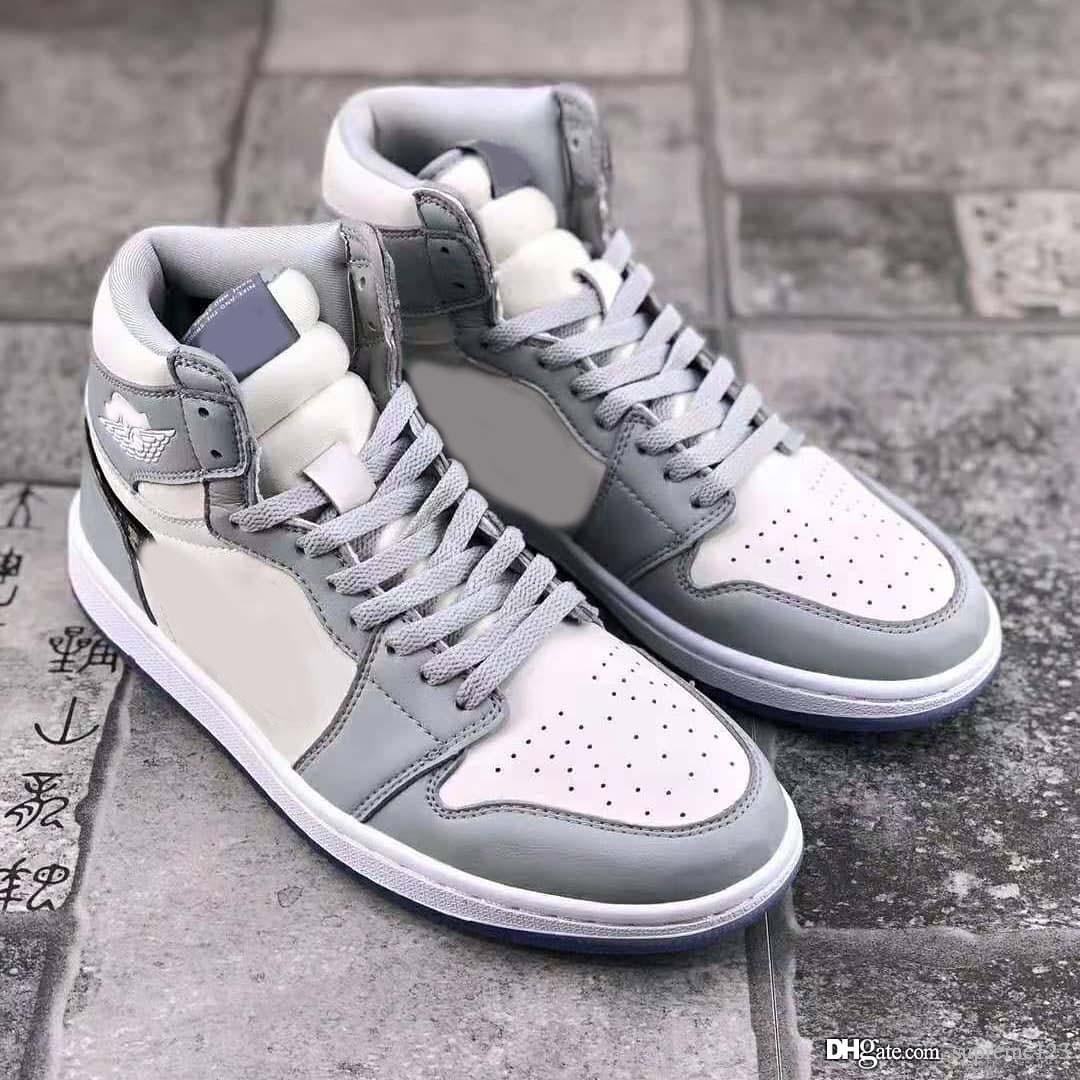 2020 Zapatos auténticos de aire 2020Dior Gris 1 Hombre Alto OG baloncesto Maison de cuero de plata Jumpman retro hombres de lujo Deportes zapatillas de deporte con la caja