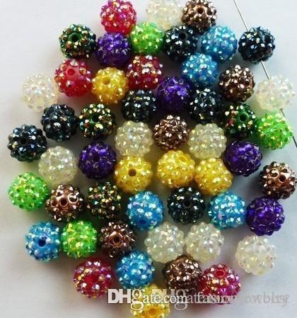 15 Beads casuale misto di colore 10MM resina Rhinestonenkjk di cristallo, perline Chunky a sfera per la collana DIY mogli di pallacanestro gioielli p6463